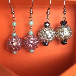 Jewelry - 2 Pr Earrings Dangle Aqua Pink Gold Silver Black